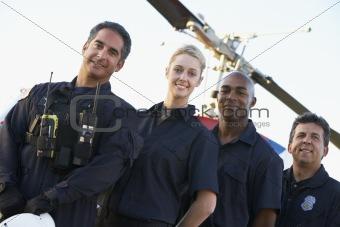 Portrait of paramedics standing in front of Medevac
