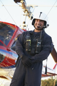 Portrait of paramedic standing in front of Medevac