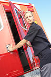 Paramedic closing ambulance doors