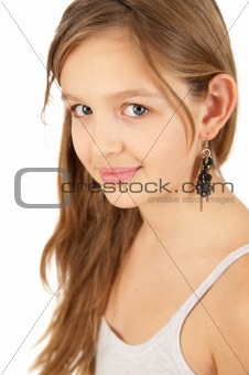 Portrait of beautiful young girl isolated on white background