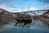 Tipical wine boats (rebelos) in the Douro river, (Oporto - Portu