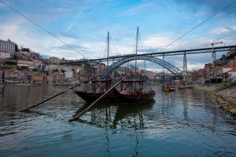 Tipical wine boats (rebelos) in the Douro river, (Oporto - Portu