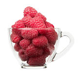Ripe raspberry in cup