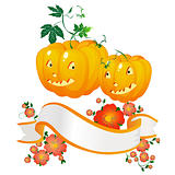 Halloween pumpkins and banner