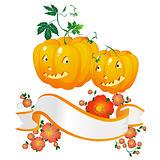 Halloween pumpkins and banner