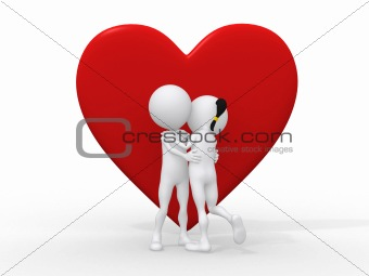 Beautiful 3d love couple embracing against a big red heart