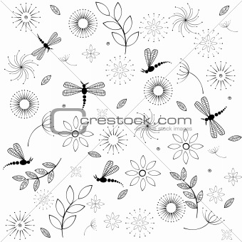 Background with flowers and dragonflies