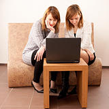 Closeup portrait of a happy young females enjoying using laptop