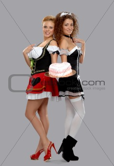 Two pretty waitress