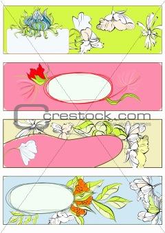 Four decorative template for invitation
