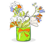 Bucket with flowers on white