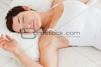 Close up of a calm woman sleeping