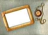 wooden frame with old watch