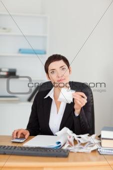 Portrait of an office worker doing accountancy