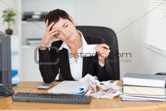 Accountant checking receipts