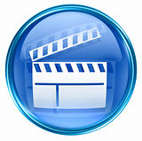 movie clapper board icon blue, isolated on white background.