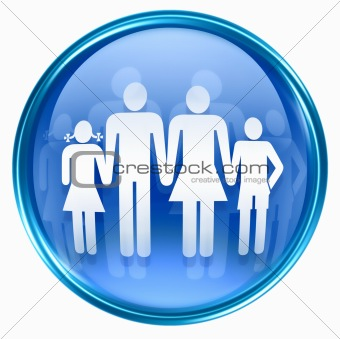 family icon blue, isolated on white background.