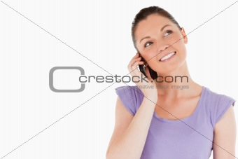 Beautiful woman on the phone while standing