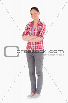 Attractive female posing while standing