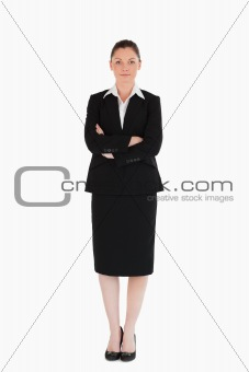 Beautiful female in suit posing