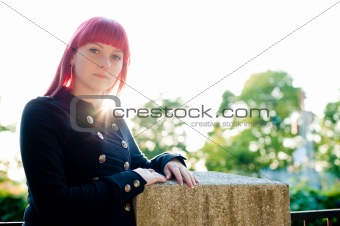 Attractive young girl with red hair