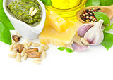 Fresh Pesto and its ingredients / isolated on white