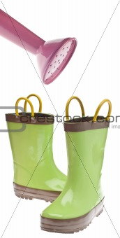 Green Gardening Boots with Watering Can Nozzle
