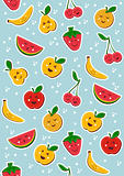 Happy fruits pattern background