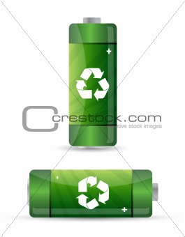 green batteries set with recycling symbol.