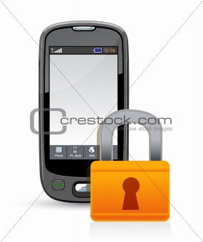 cell phone and padlock. information security concept