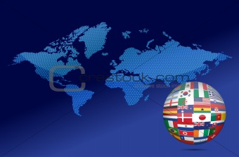 International communication concept. World flags on globe illustration