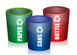 Colorful Bins For Collection Of Recycle Waste