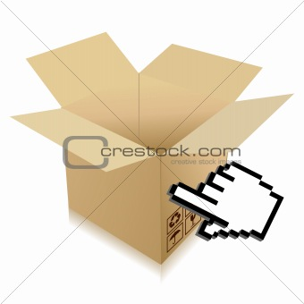 Hand Cursor and shipping box illustration over white