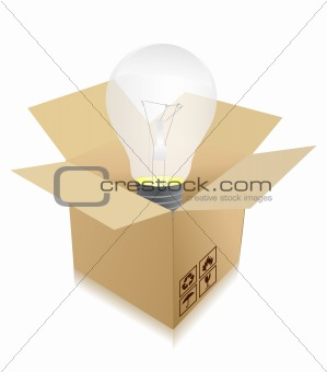 idea travel concept - bulb in box illustration design