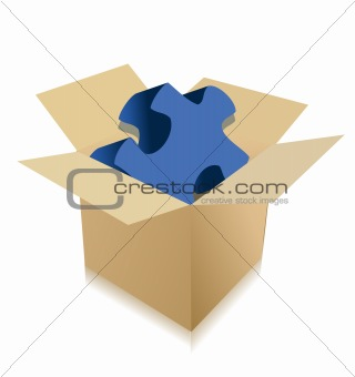 Cardboard box with puzzle on a white background.