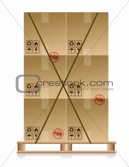 Cardboard boxes on wooden palette isolated on white
