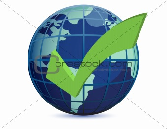 World globe and checkmark over a white background