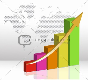 colorful business Bar chart illustration on a white background