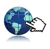 Hand Cursor And World globe illustration design over white
