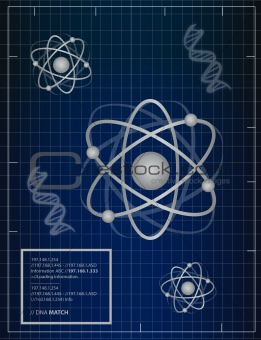 Atoms and DNA matching background illustration design