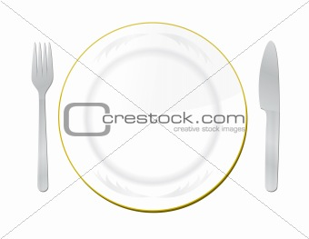 Knife, white plate and fork on a white background