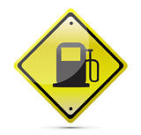 Gas station yellow sign illustration design over a white background