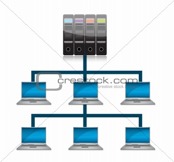 global computer network concept illustration design over white