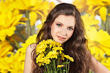 fresh girl with yellow flower