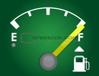 detailed gas gauge illustration design isolated on a dark green background