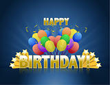 Happy birthday balloons logo sign with golden stars ans rays of light.