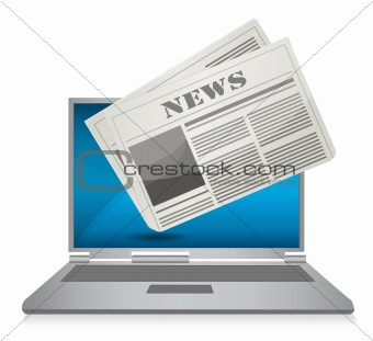 Online News concept illustration design over a white background