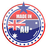 Made in Australia illustration stamp isolated over a white background
