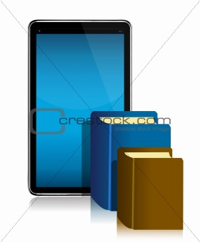 ebook and books in front of illustration design