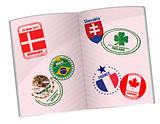 passport illustration design with around the world stamps